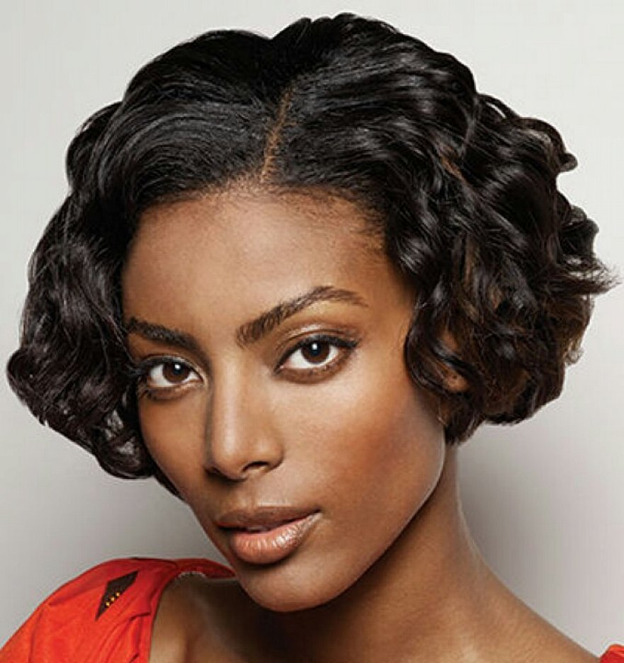 short bob hair style for curly black women