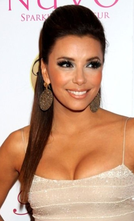 Eva Longoria Long Straight Hair with Ponytail & Hot ... ева лонгория