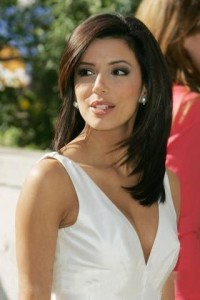 Eva Longoria Long Straight Hairstyle & Fashion Wear