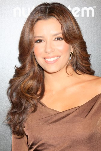 Eva Longoria Simple Wavy Hairstyles With Brown Hair Color