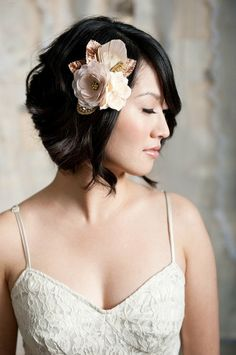 Short wedding hair styles with floral headpiece