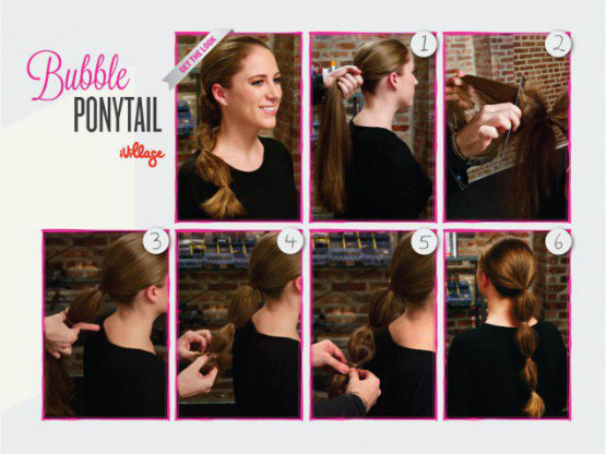 Bubble Ponytail Style for Long Hair