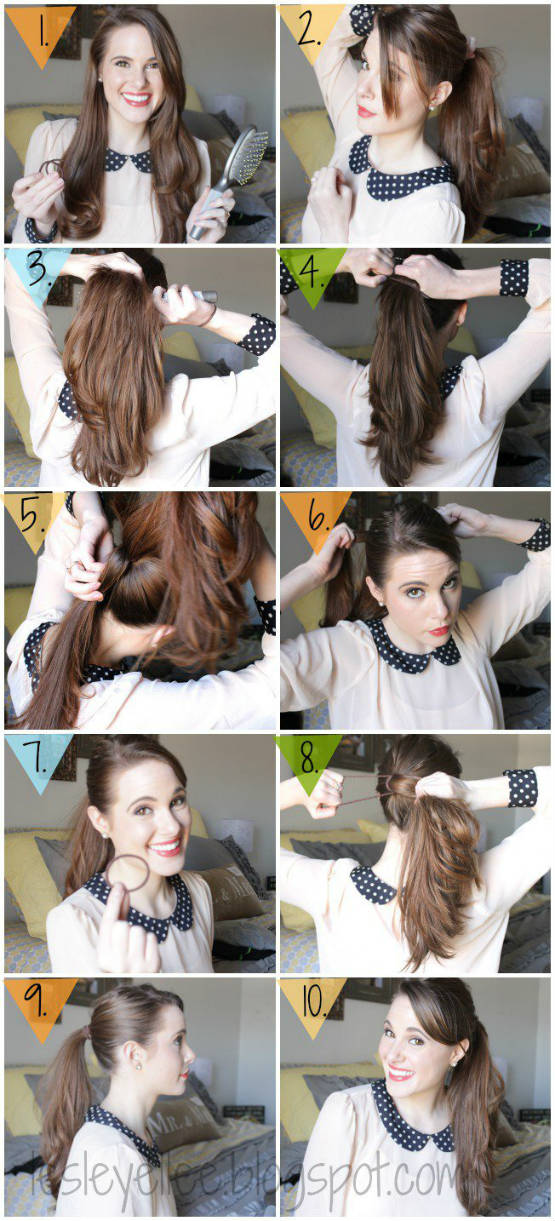 Cute messy ponytail for long hair