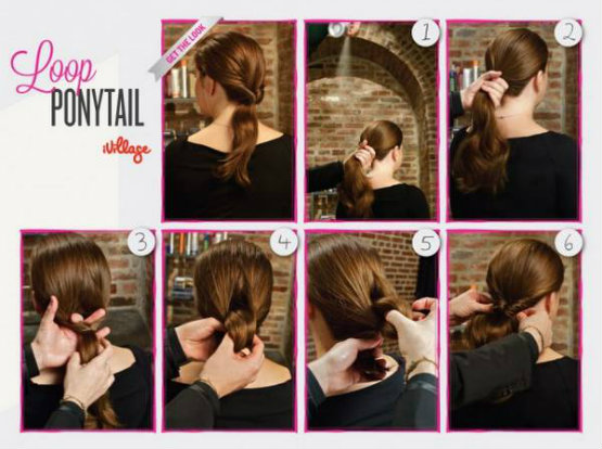 DIY Loop Ponytail Step by Step Turorial Instructions