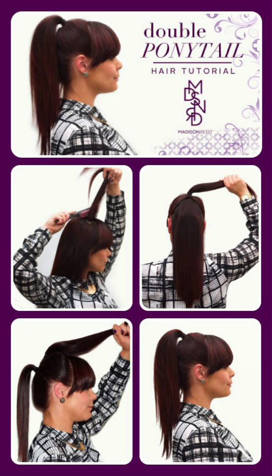 DIY-double-ponytail-hairstyles-for-long hair-tutorial
