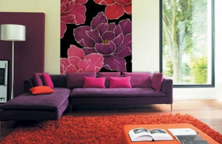 Flower wall mural pattern with purple color to enhance your living