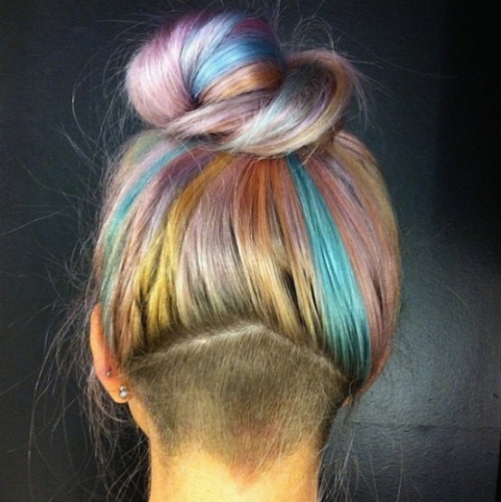 Rainbow (many color) pastel hair color
