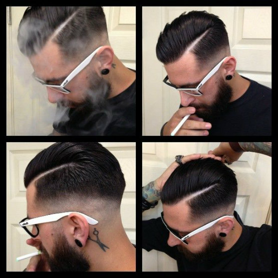 Side Parted Rockability Hairstyles Combination with Beards