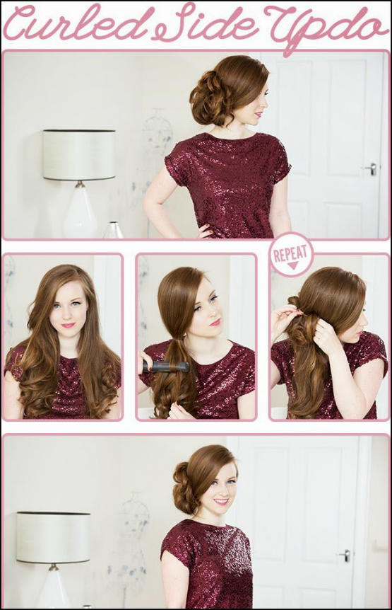 Simple and quick wavy hair tutorial step by step - curled side updo