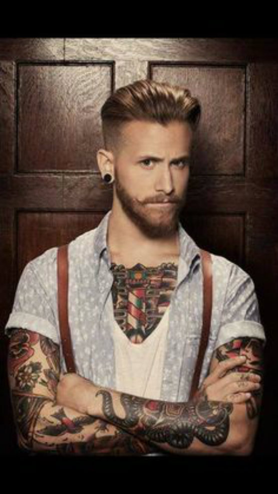 Undercut Rockability Haircut with Long Hair on The Top for Men