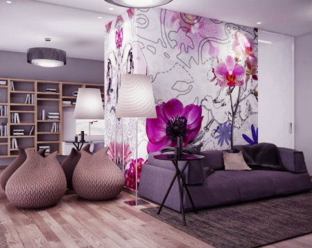 Wall Mural Ideas With Flower Pattern To Make Cozy Living Room