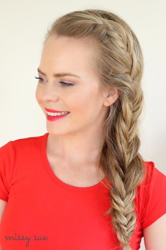 Cute fishtail braid long hairstyles for school