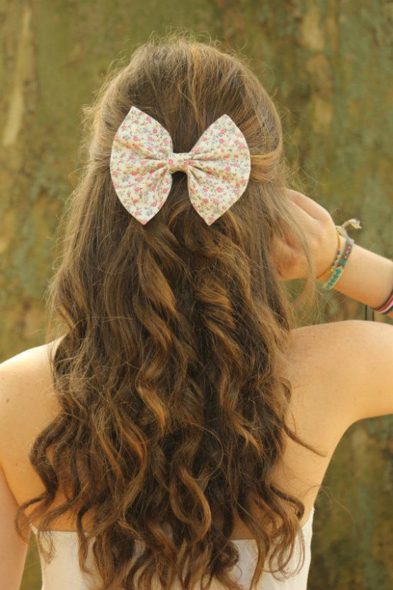 FLoral Hair bow for Sweet and Cool Hairstyles for GIrl
