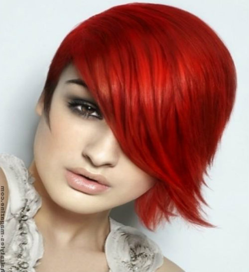 Medium Asymmetric Crimson Hairstyle for Funky Girl