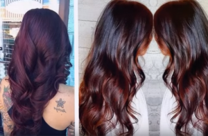 Vibrant Auburn And Deep Dark Brown Hair Color